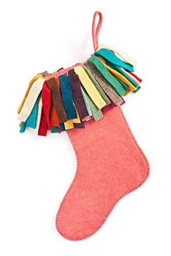 Arcadia Home (ARD4L) Hand Felted Wool Colorful Fringe Christmas Stocking, Pink Colorful - Felted Wool Christmas Stocking