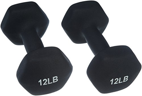 AmazonBasics 12 Pound Neoprene Dumbbells Weights - Set of 2, Black (Best 30 Minute Workout Routine)