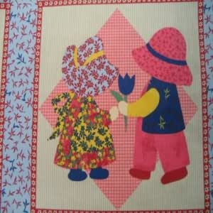 """Cheater Quilt Top Material By The Yard,90/"""" wide,/""""Dahlia Navy/"""""""