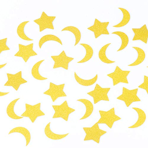 Decorations Moon Stars (YESON Gold Confetti Glitter Star and Moon Confetti,2 inch Table Confetti Decorations,Pack of 100)