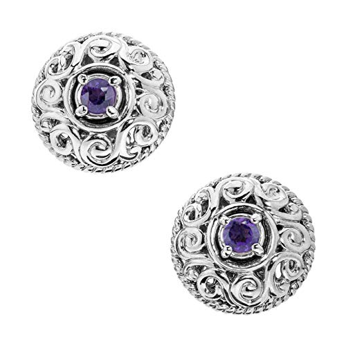 (Carolyn Pollack Sterling Silver Purple Amethyst February Birthstone Button Earrings)