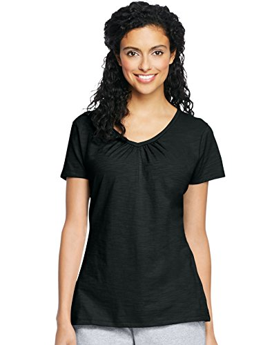 - Hanes by Womens Slub Jersey Shirred V-Neck Top 9253_Black_XL