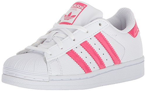 adidas Unisex-Kids Superstar C, White/Real Pink/White, 13.5 M US Little Kid (Pink Shoes White Leather)