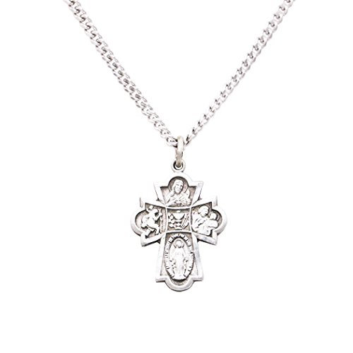 Rosemarie Collections Religious Gift First Communion Four Way Cross Pendant Necklace 18