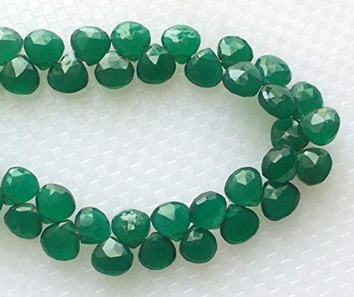 GemAbyss Beads Gemstone 1 Strand Natural Green Onyx Heart Briolettes, Emerald Green Onyx, Green Onyx Necklace, 7mm,7.5 Inch Code-MVG-18838