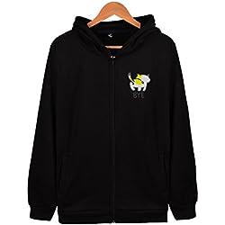 Cute Cat Butt Long Sleeve Pocket Hoodie Zip Up Tops Lightweight Sweatshirts