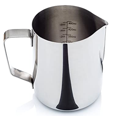 Stainless Steel Milk Frothing Pitcher - with Measurement Markings and Bonus Storage Bag (12 or 20 oz.) - for Espresso Maker, Hot Milk Frother and Cappuccino Maker