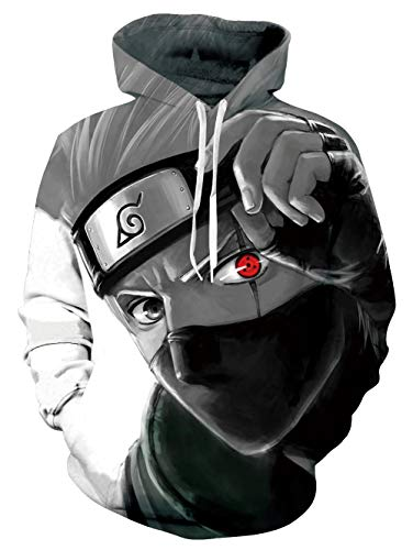 Cool Hoodie Realistic Genuine Sweatshirt Naroto Grey Red Kakashi Sharingan Round Eye Mask Retro Hooded Pullover Sportswear Shirts for Teenager Boys Girls Youth Brothers Sisters Daughter