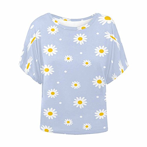 - INTERESTPRINT Women Basic Short Sleeve Shirts O Neck T Shirt Daisy XXL