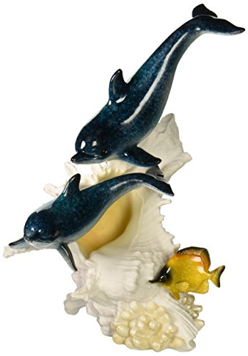 StealStreet SS-UG-YXC-907 Bottlenose Dolphin Couple Swimming with Colored Fish Statue, 10