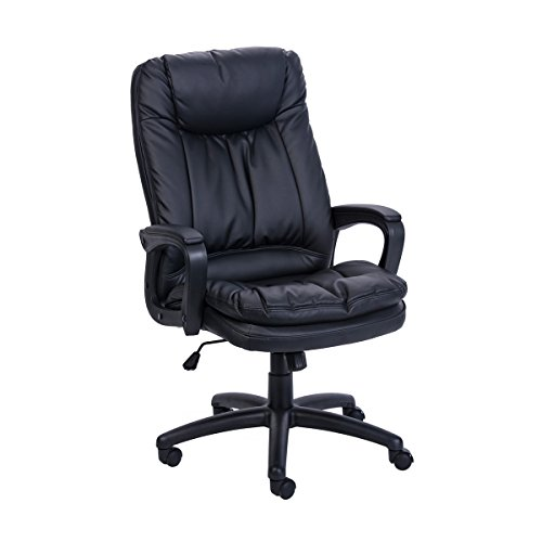 Sunmae High Back Office Chair, Ergonomic PU Leather Executive Chair, Adjustable Computer Desk Swivel Chair – Black