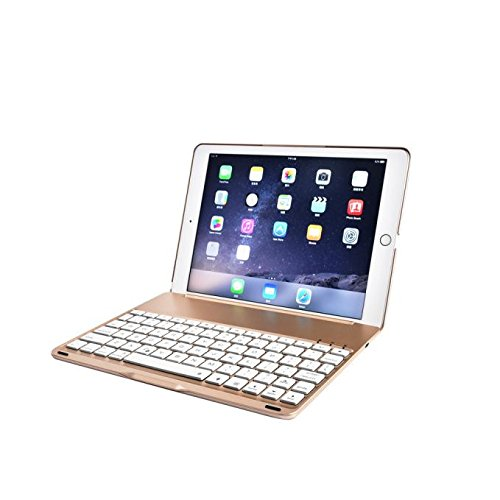 DZT1968 7 Colors Backlit Bluetooth Keyboard Smart Folio Case For iPad Pro 9.7inch (Gold) by DZT1968