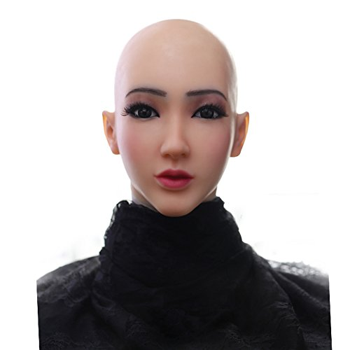 Soft Silicone Realistic Female Head Mask Hand-Made Face for Crossdresser Transgender Halloween Costumes 3G