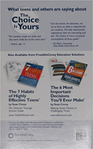 Workbook 7 habits of highly effective teenagers worksheets : The Choice Is Yours: The 7 Habits Activity Guide for Teens: Sean ...