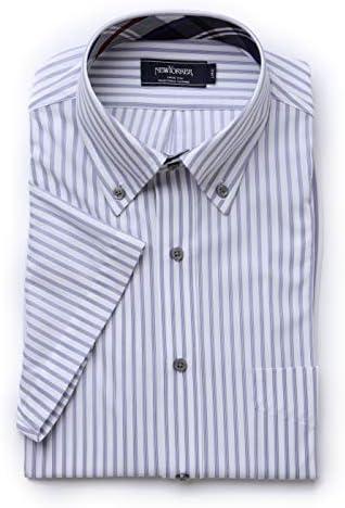 シャツ FLEXY ジャージー ストライプ 半袖 ボタンダウン