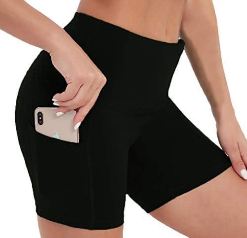 Tandisk Women's High Waist Workout Biker Yoga Running Compression Exercise Shorts Side Pockets