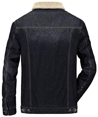 Giacca Cashmere Cappotto Jeans Manica Uomini Bavero Addensare Lunga Slim Abbigliamento Casuale Huixin Inverno Caldo Epoca Fit Schwarz Di 8rSyK68