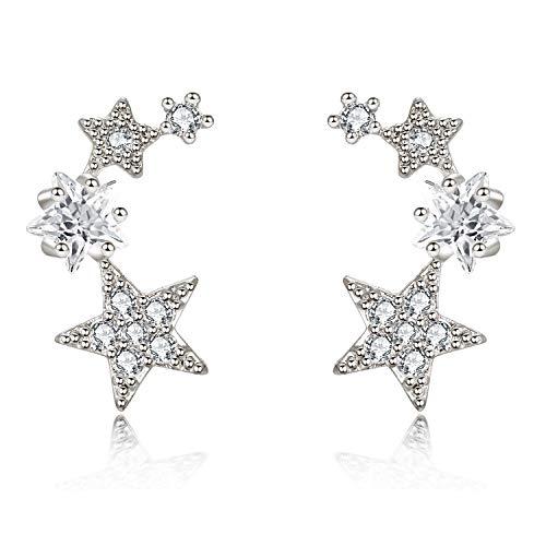 - CIShop Star CZ Simulated Diamond Stud Earrings Ear Wire Ear Cuff Earring 1Pair (hypoallergic)