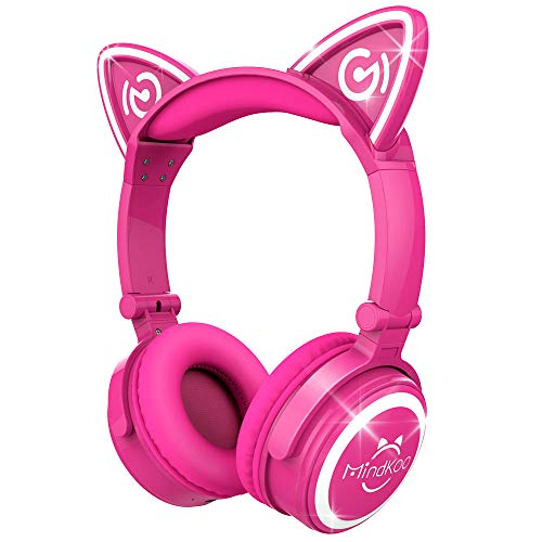 MindKoo Wireless Headphones Over Ear- Bluetooth Headphones with LED Light, Soft Earmuff and Headband Cushion, Cat Style for Cellphones, Tablets and PC, Hot Pink