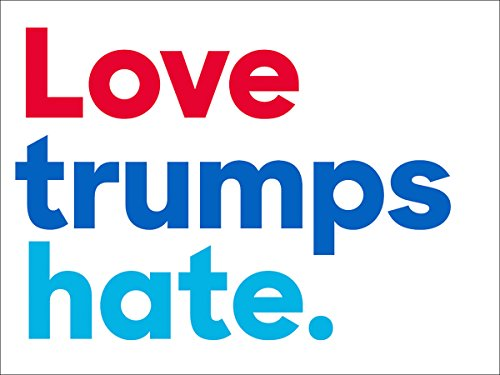 American Vinyl Love trumps hate. Bumper Sticker (anti trump peace democrat)
