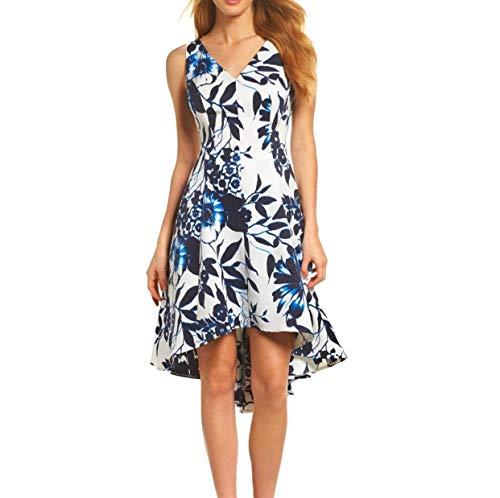 Eliza J Floral Navy White High Low Dress Size 14