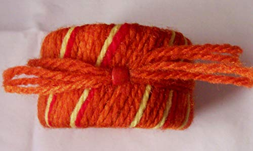 - Orange and Yellow Yarn Wrapped Bangle Cuff Bracelet with Wood Bead Trim for Women, Teens 2 inches Wide, 2 3/4 inch Diameter