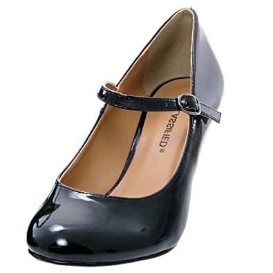 City Classified Womens Kaylee-H Pumps Shoes,Black Patent,5.5