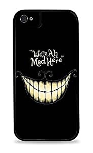 SMMNKOL?Cheshire Cat We're All Mad Here Design Print Black 2-in-1 Protective Case with Silicone Insert for Apple iPhone 4 / 4S