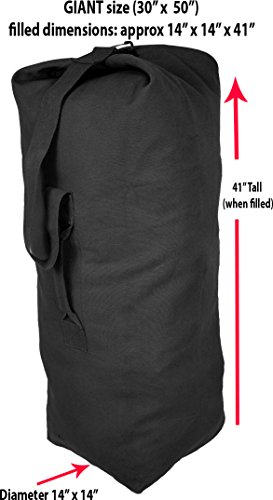Black Giant Top Load Canvas Military Duffle Bag (30
