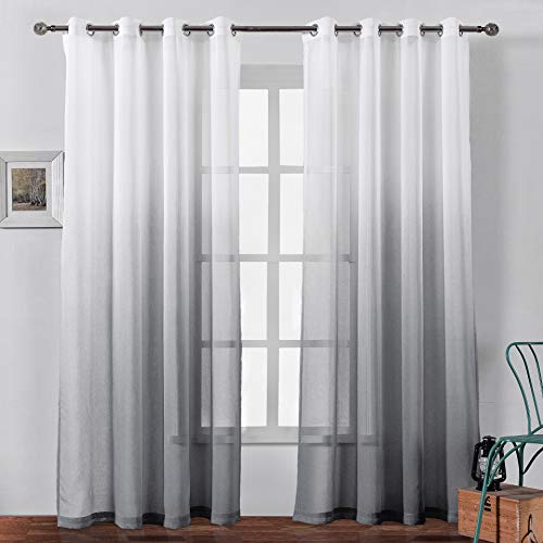 Bermino Faux Linen Sheer Curtains Voile Grommet Semi Sheer Curtains for Bedroom Living Room Set of 2 Curtain Panels 54 x 108 inch Grey Gradient (Inches Long Curtains Sheer 108)