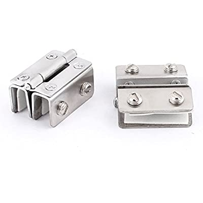 uxcell 8mm-10mm Thickness Glass Metal Clamp Clip Door Hinge Catch 2pcs