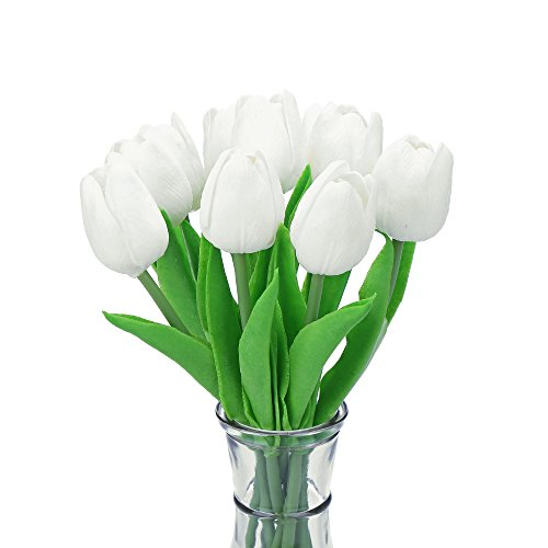 Decora 10Pcs/Bag PU Holland Mini Tulip Artificial Flower Real Touch for Wedding,Room,Home,Hotel,Party Decoration and Holiday Gift(White)