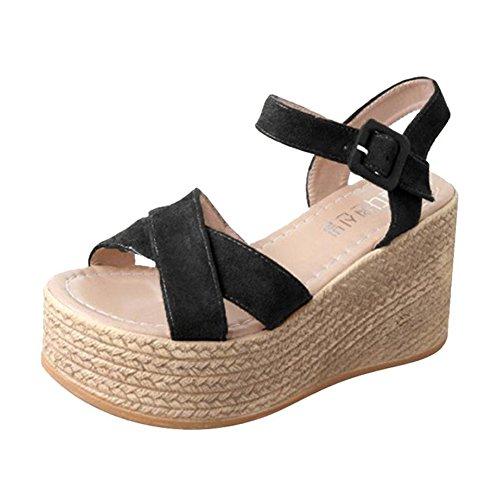 Tacón Alpargata de Zapatos Casual Fiesta Playa Sandalias Plataforma Negro Verano Baño Mujer de para de Sandalia Mujer Vestir Alto Chanclas CSwYq15