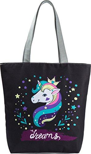 Ababalaya Creative Unicorn Pineapple Flamingo Print Zipper Canvas Tote Bag for Women Girls,Rainbow Unicorn by Ababalaya