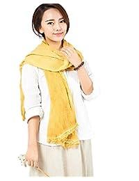 Women Hemp Solid Scarf Sheer Infinity Wraps Beach Towel Lace Crinkle Shawls Yellow