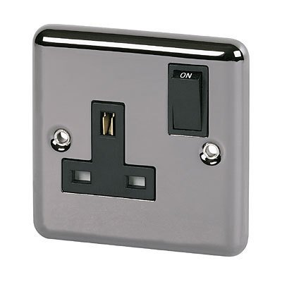 Volex Black Nickel Single Electric Wall Socket with Rounded Edge & Black Inserts