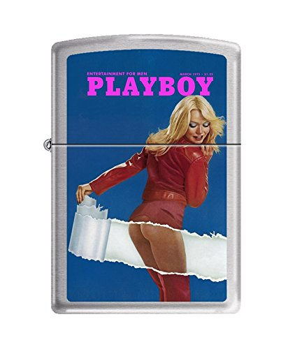 Price comparison product image Zippo Playboy Cover March 1975 Pocket Lighter,  Brushed Chrome