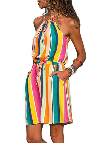 (Alaster Queen Women's Sleeveless Printed Flower Style Casual Floral Mini Dress Multicoloured Striped)