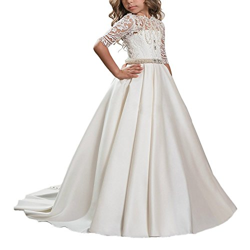 (Carat Beautiful White Lace Princess Ball Gown Hollow Back Flower Girl Dress Ivory Size)
