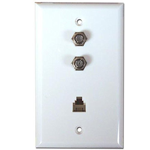 - Flush Mount Wall Plate, 2 F-81 Jacks 1 Phone Jack