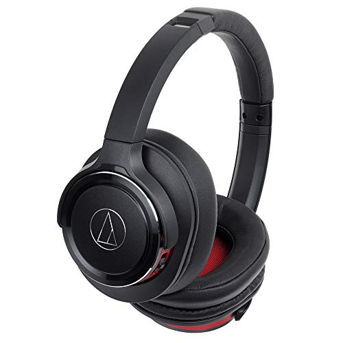 Audio-Technica ATH-WS660BTBRD Solid Bass Bluetooth Wireless Over-Ear Headphones with Built-In Mic & Control, Black/Red