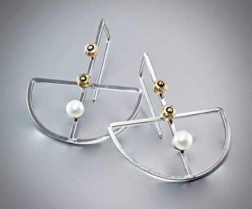 Geometric Two-Tone Freshwater Pearl Earrings