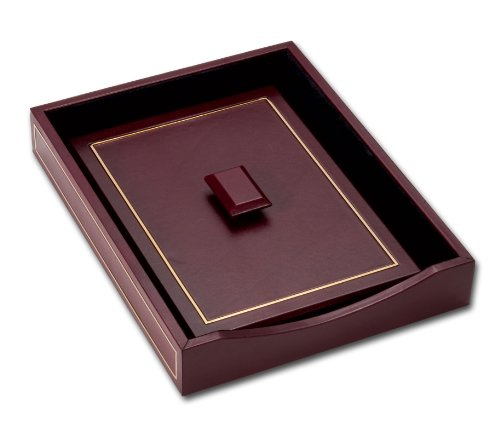 Dacasso 24-Karat Gold Tooled Burgundy Leather Letter Tray with Lid by Dacasso