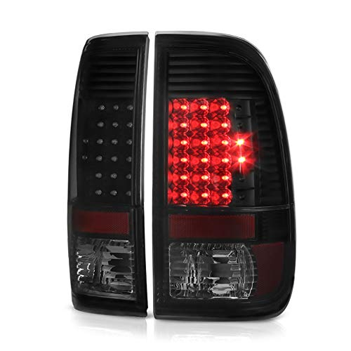 VIPMOTOZ For 2008-2016 Ford F-250 F-350 F-450 Superduty LED Tail Lights - Matte Black Housing, Smoke Lens, Driver and Passenger Side