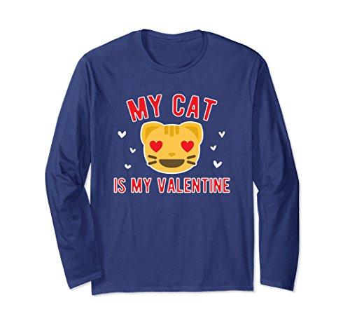 Kitten Long Sleeved T-shirt (Unisex My Cat is my Valentine Long-Sleeved T-shirt 2XL Navy)