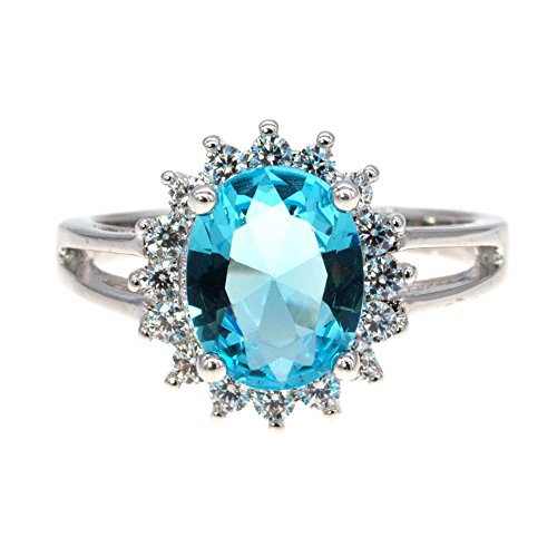Cocktail Aqua Ring - Lavencious Oval Round Shaped CZ Rings Wedding Party Statement Engagement Inspired Cocktails For Woman Size 5-10 (Aqua Blue, 8)