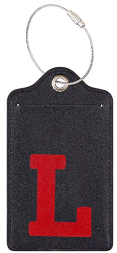 Chelmon Initial Luggage Tag with Full Privacy Cover and Stainless Steel Loop (L)