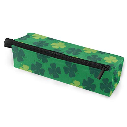 (Sunglasses case Green Clover Leaf Pen Pencil Case Stationery Pouch Storage Box Cosmetic Bags Eyeglasses Bag with Hanging Loop )