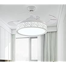 Hidden ceiling fan light fashion simple dining room chandelier bedroom living room fan chandelier led household decorative lamp ceiling lamp 36 inch (white)