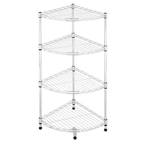 Tangkula 4-Tier Corner Rack Display Shelf Kitchen Bathroom Storage Wire Shelving